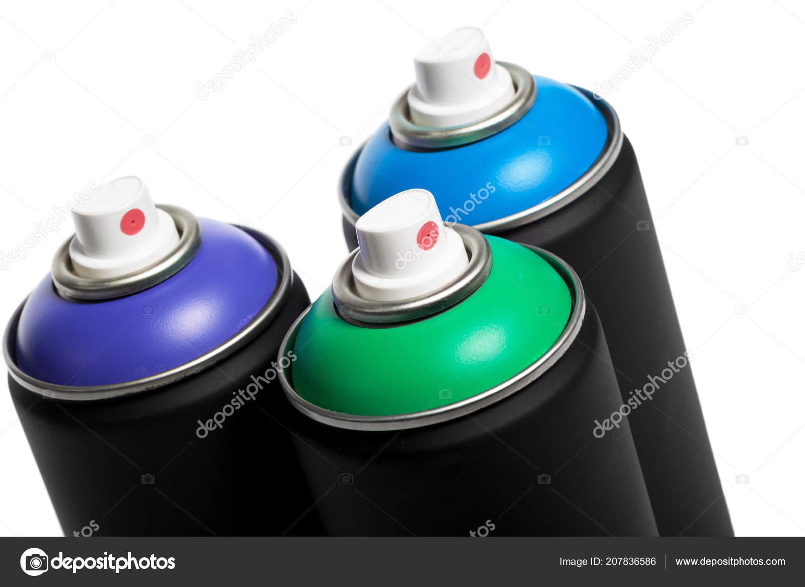 Spray Paint Cans Background Close Stock Photo