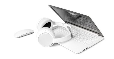 laptop and headphones isolated on white background