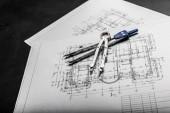 Építőipari tervezési rajzokat, fekete háttér