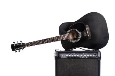 close up of  Black acoustic guitar on white background