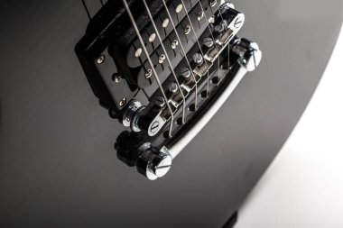 Electric guitar parts on background,close up