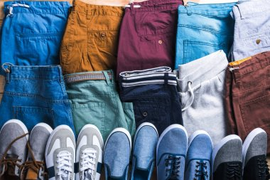 set of colorful male summer shorts