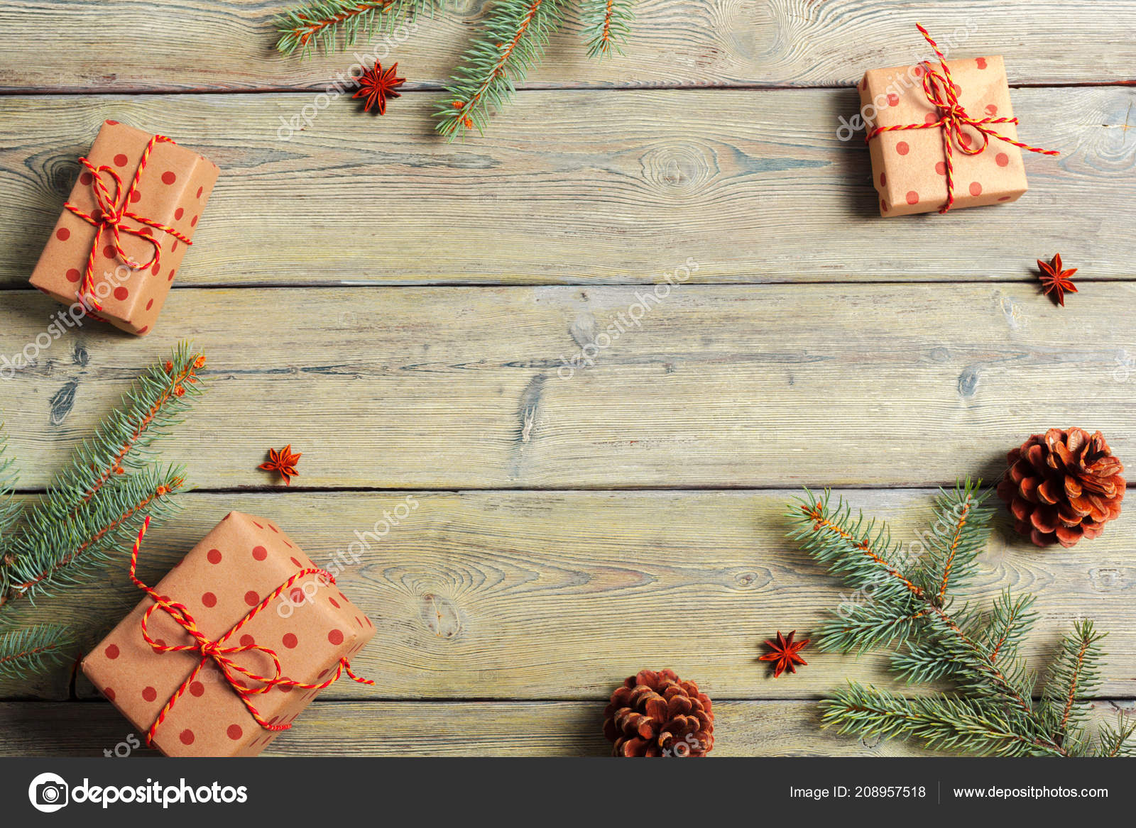 White Wooden Table Christmas Tree Decorations Top View Stock Photo Image By C Fotofabrika 208957518