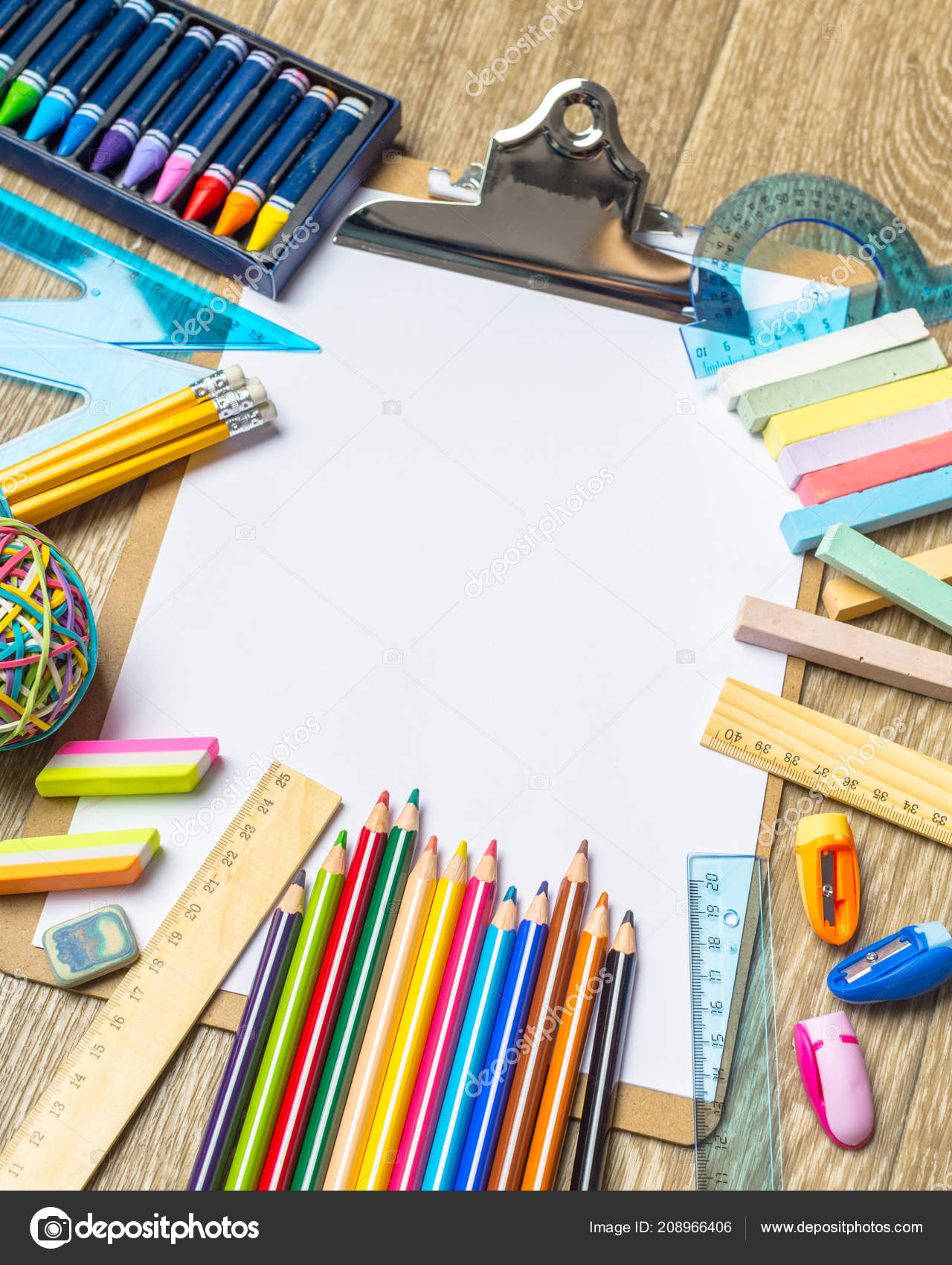 Various colorful drawing tools mock stock photo
