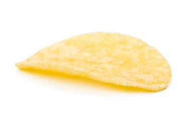 yellow potato chip isolated on white background