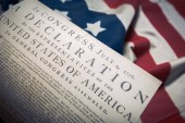 Photo United States Declaration of Independence on a Betsy Ross flag