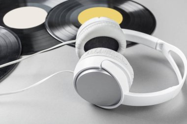 vintage vinyl on gray background