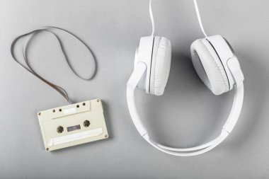 high angle view of White headphones on white background
