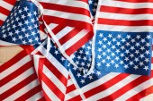 American flags bright background