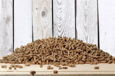 wooden pellets on wooden table