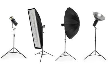 Photo studio lighting equipment isolated on white