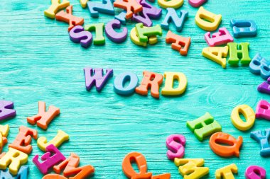 Multiple colored letters - text word