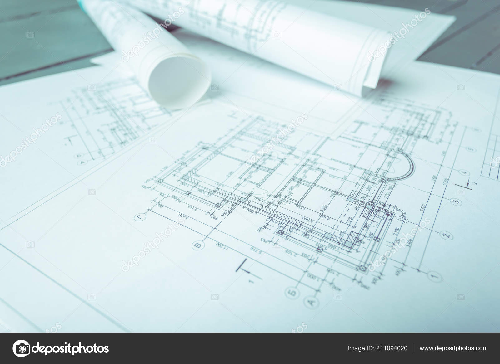 Close Architectural Plans Wooden Background Stock Photo