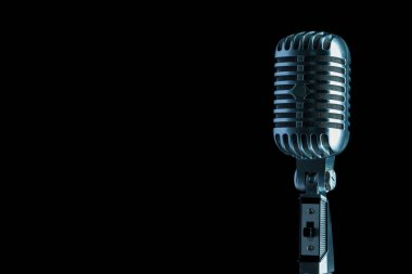 close up audio microphone in retro style against black background