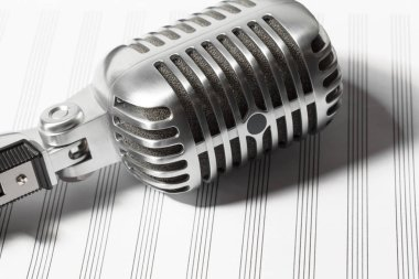 close up audio microphone in retro style