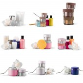 Fotografie collection of cosmetic bottles isolated on white