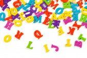 Fotografie colorful toy alphabet letters isolated on white background