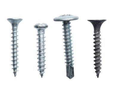 metal screws isolated on white background
