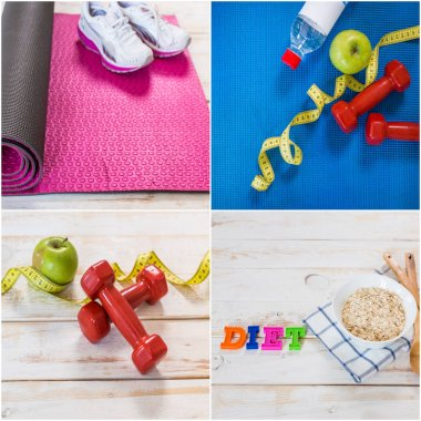Fitness training, diet and exercises concept