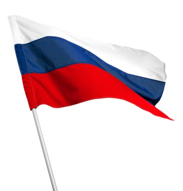 Russia flag waving isolated on white background