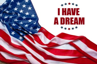 Happy martin luther king day background with american flag