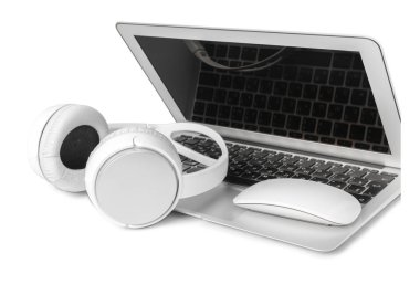 laptop and headphone isolated on white background