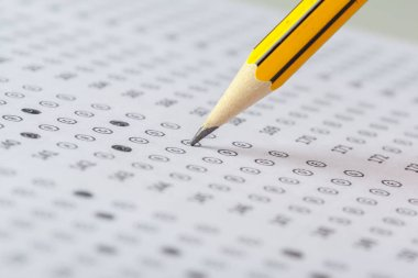 close up view of Test score sheet with answers