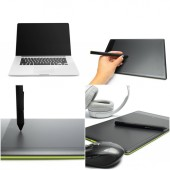 Fotografie graphic tablet with pen for illustrators and designers, isolated on white background.