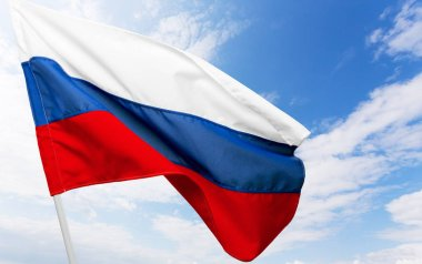 Russian flag on background,close up