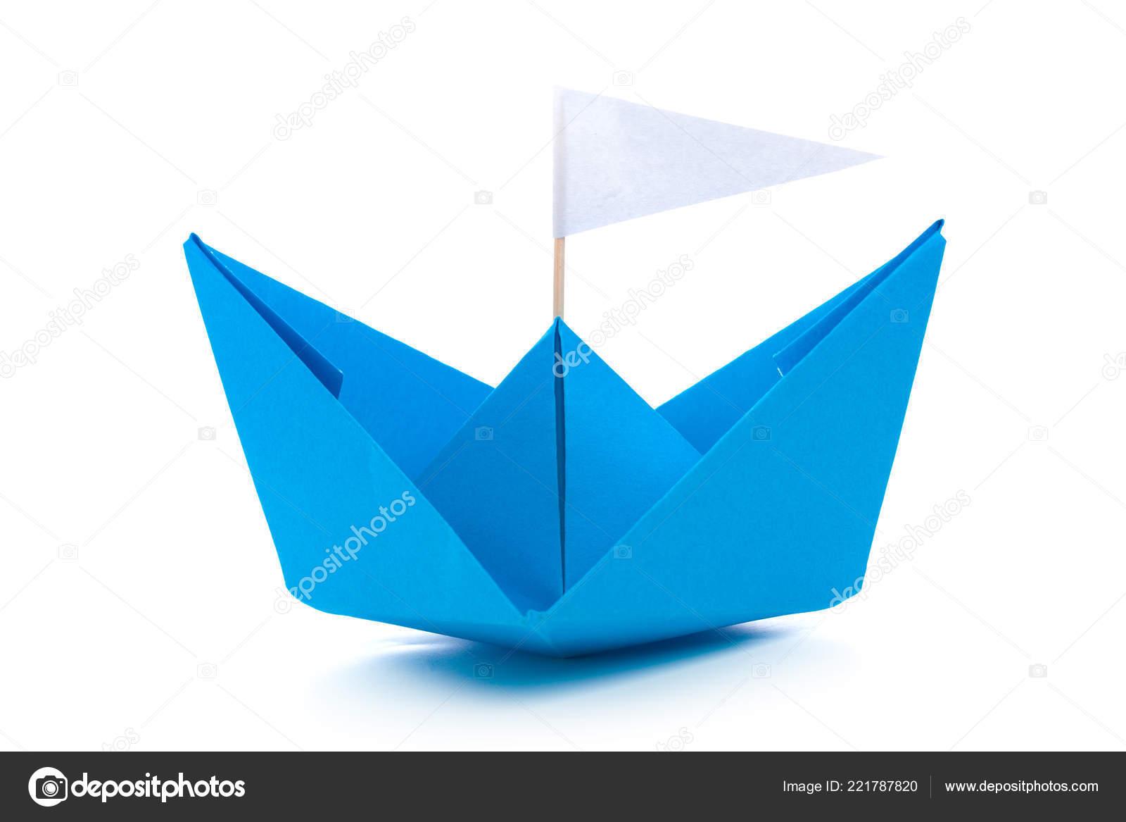 Origami Paper Boat Isolated White Background Stock Photo