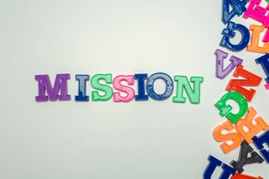 pick a wood letters of Mission word