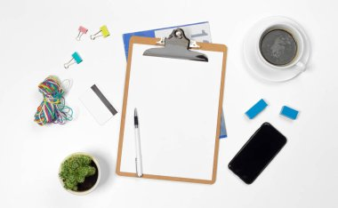 View of creative blank office desk background