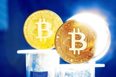 Bitcoin kavramı üzerinde arka plan, yakın çekim
