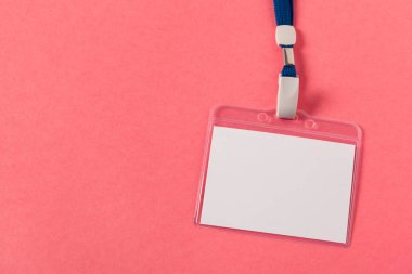 Blank  greeting card or tag  on pink  background