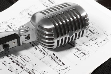 Retro microphone  on background,close up