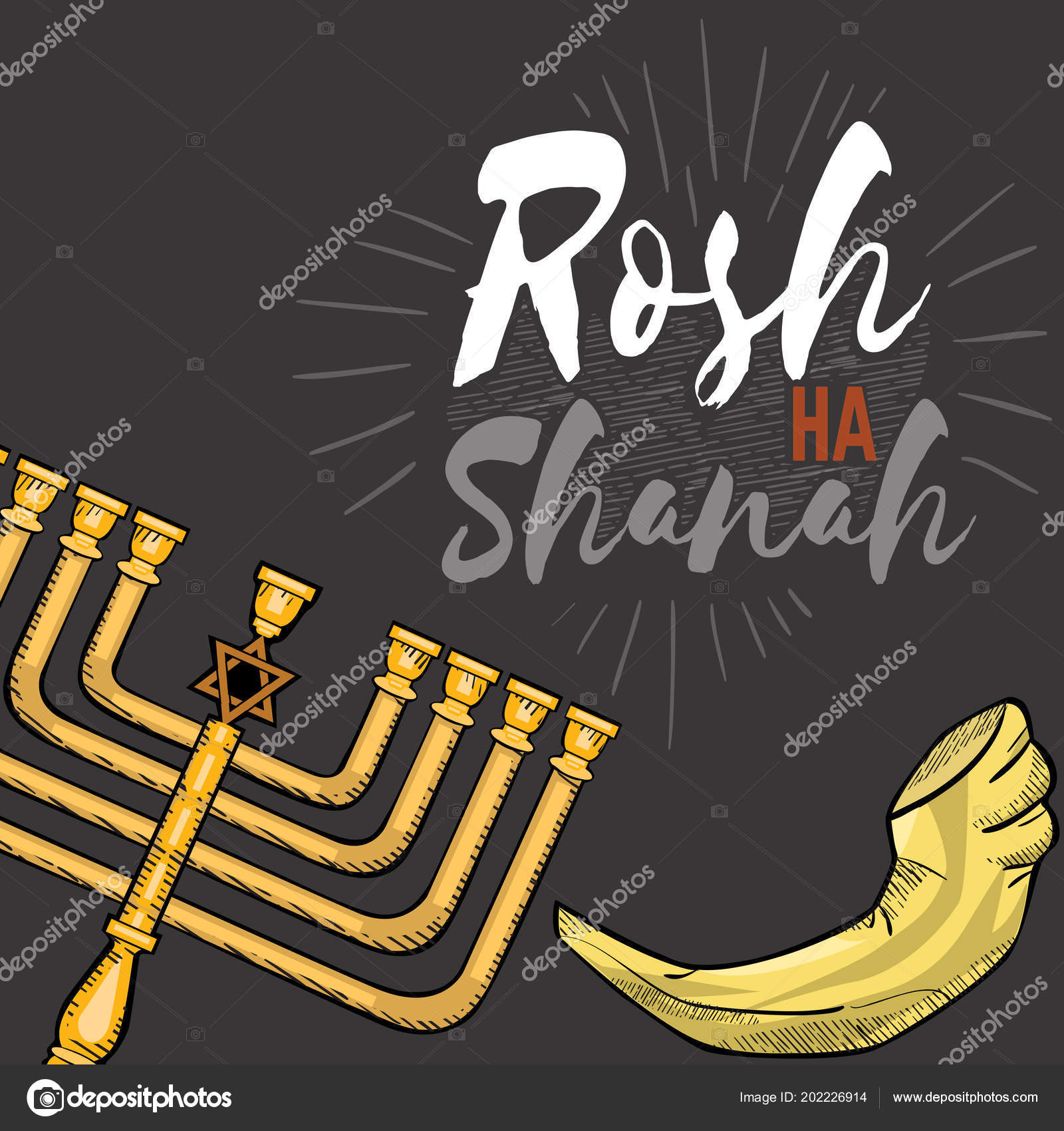 Rosh Hashanah Text Lettering Happy Jewish New Year Menorah Greeting Card Design With Logo Vector Illustration Cartoon Isolated On White Background Stock Vector C Anutaberg 202226914