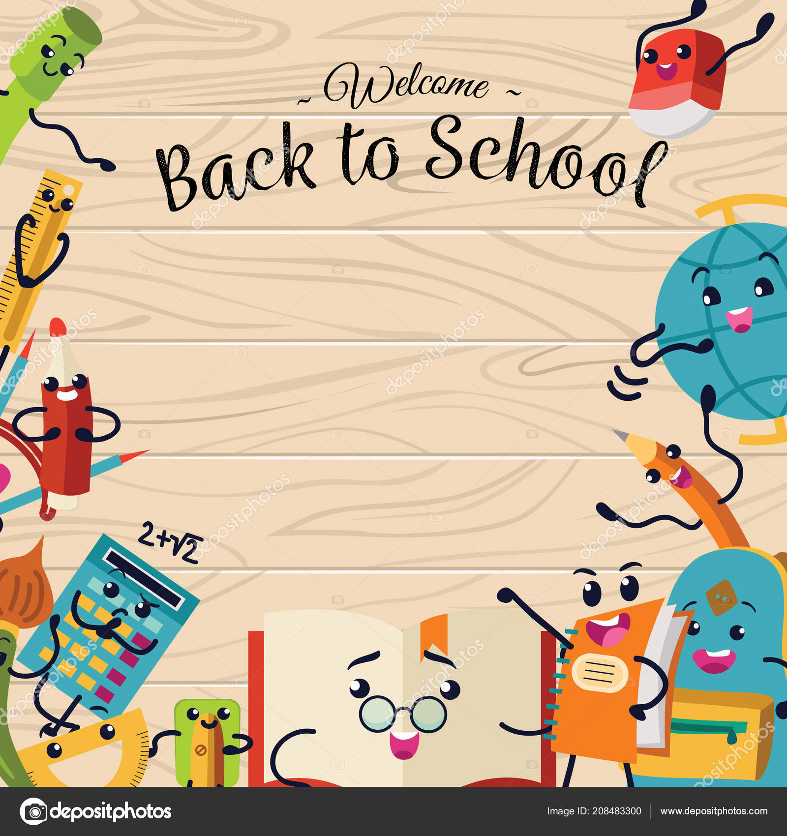 Zurück zu Schule Plakat, bunte Vorlage mit Briefpapier ...