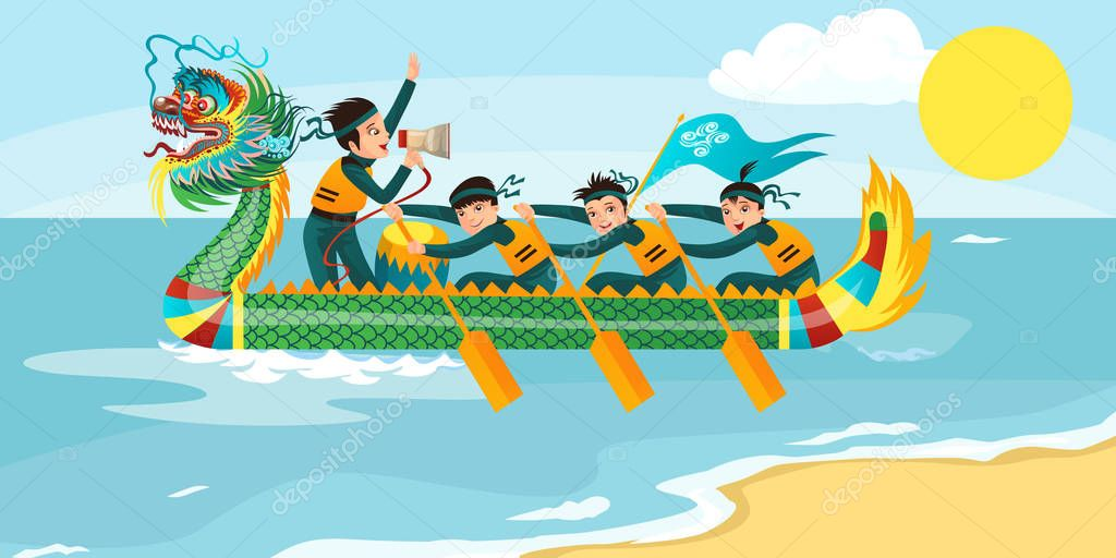 Dragon boat racing horizontal banner vector illustration