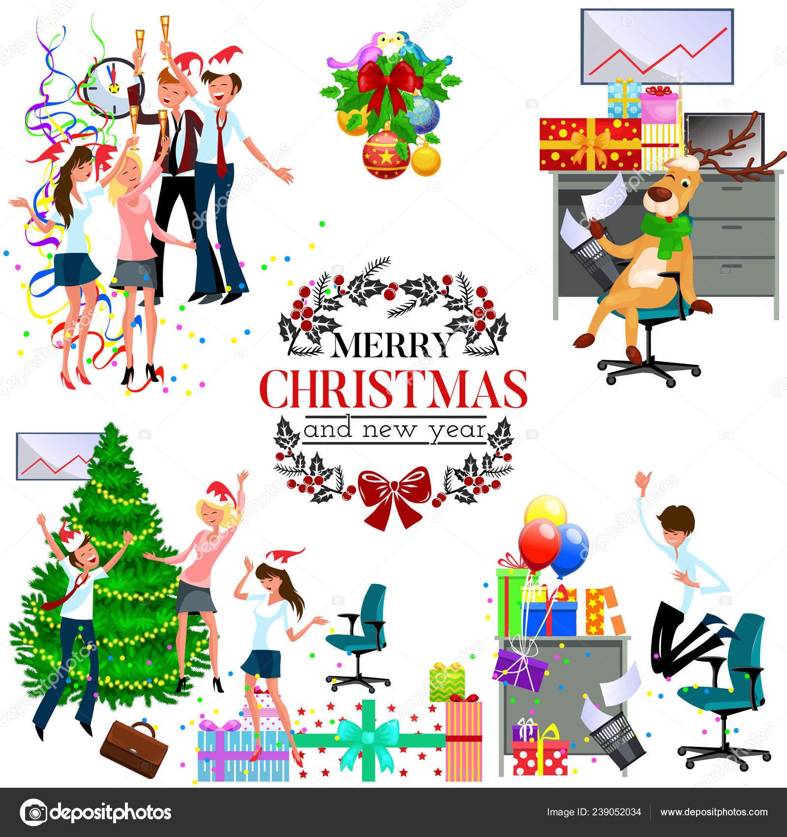 Weihnachtsfeier Cartoon.Cartoon Weihnachtsfeier Bei Der Arbeit Im Büro Stockvektor