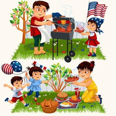 Happy cartoon family having bbq outside set