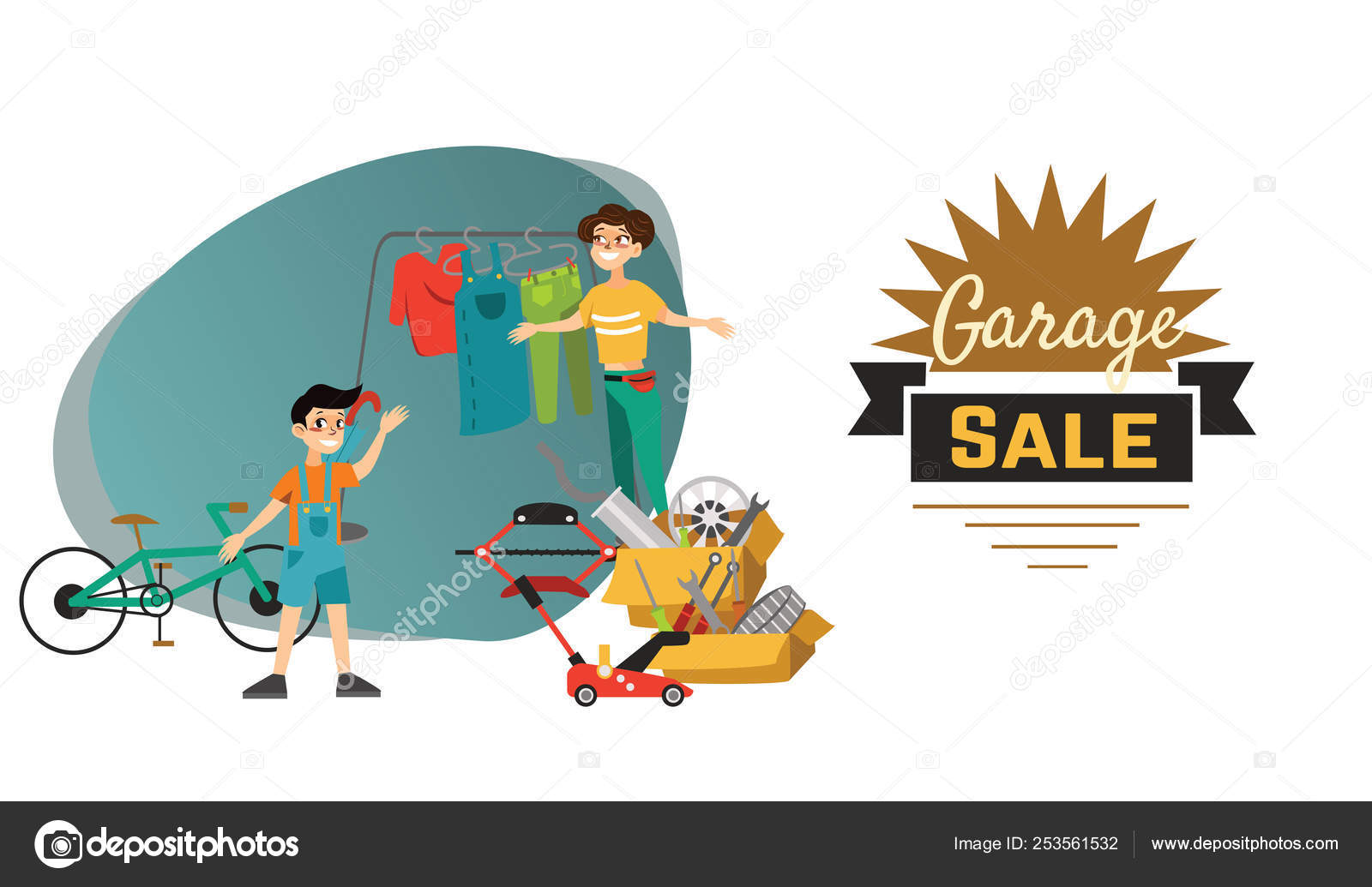 Garage Sale Young beautiful women sell used stuff at the