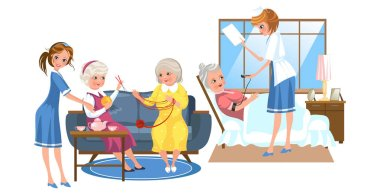 Cartoon picture of nurses taking care of elder people
