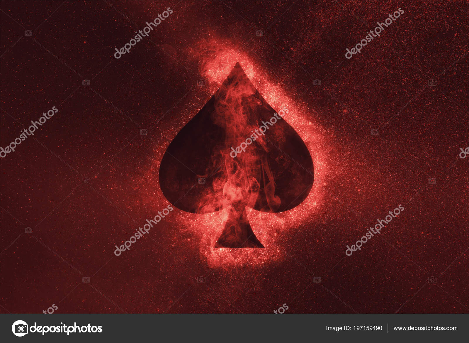 Playing Card Spade Symbol Abstract Night Sky Background Stock