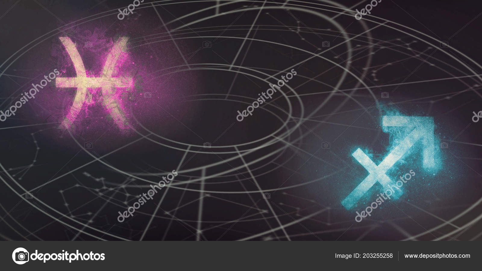 Pisces Sagittarius Horoscope Signs Compatibility Night Sky Abstract
