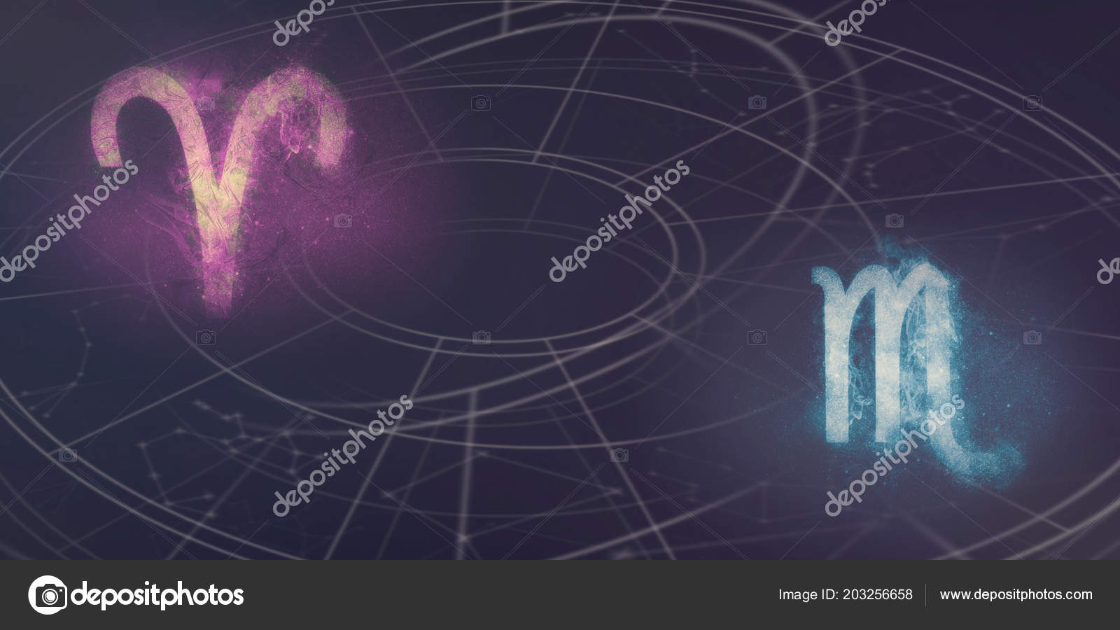 Aries and Scorpio horoscope signs compatibility. Night sky Abstract background.– stock image