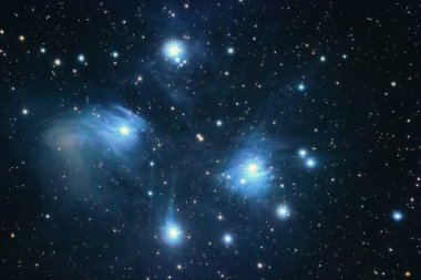 The Pleiades reflection nebula in the constellation of Taurus. Open star cluster.