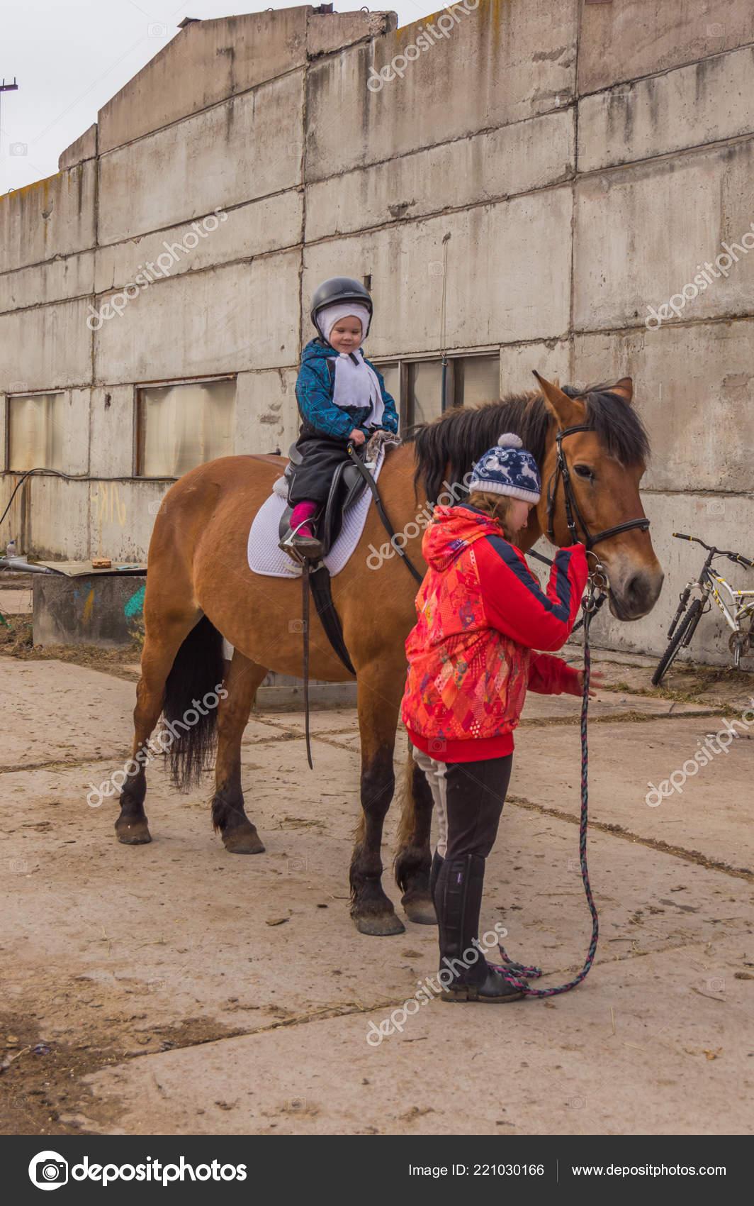 Russia Leningrad Region Nikolskoye March 2017 Stable Horse Riding Girls Stock Editorial Photo C P Kdmitry 221030166