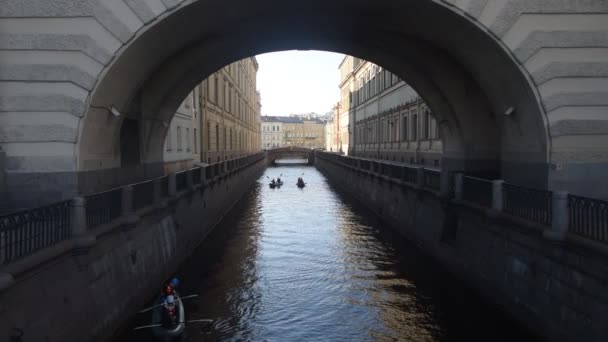Russia, St. Petersburg, may 15, 2019 - editorial, in the city on the river tourists kayak