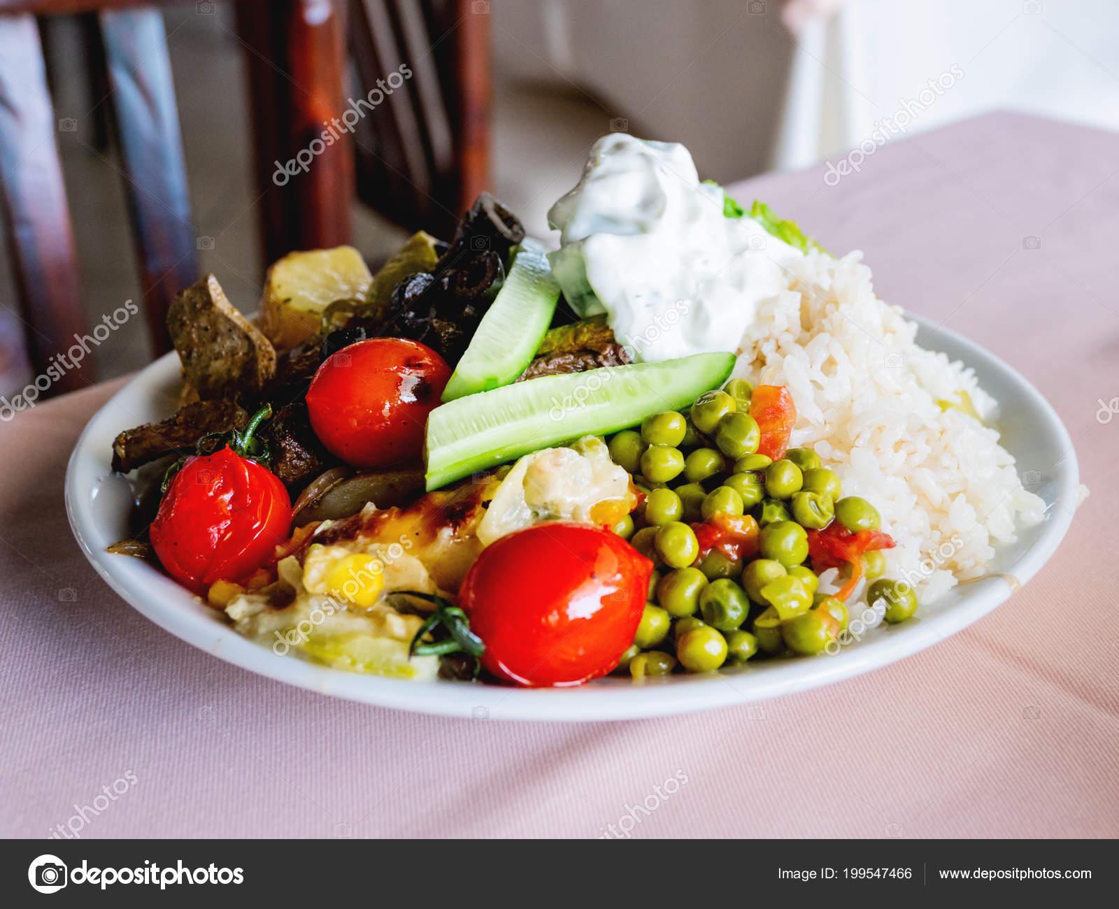 Healthy Dinner Plate Full Stewed Vegetables Rice Meat Natural Yogurt Stock Photo
