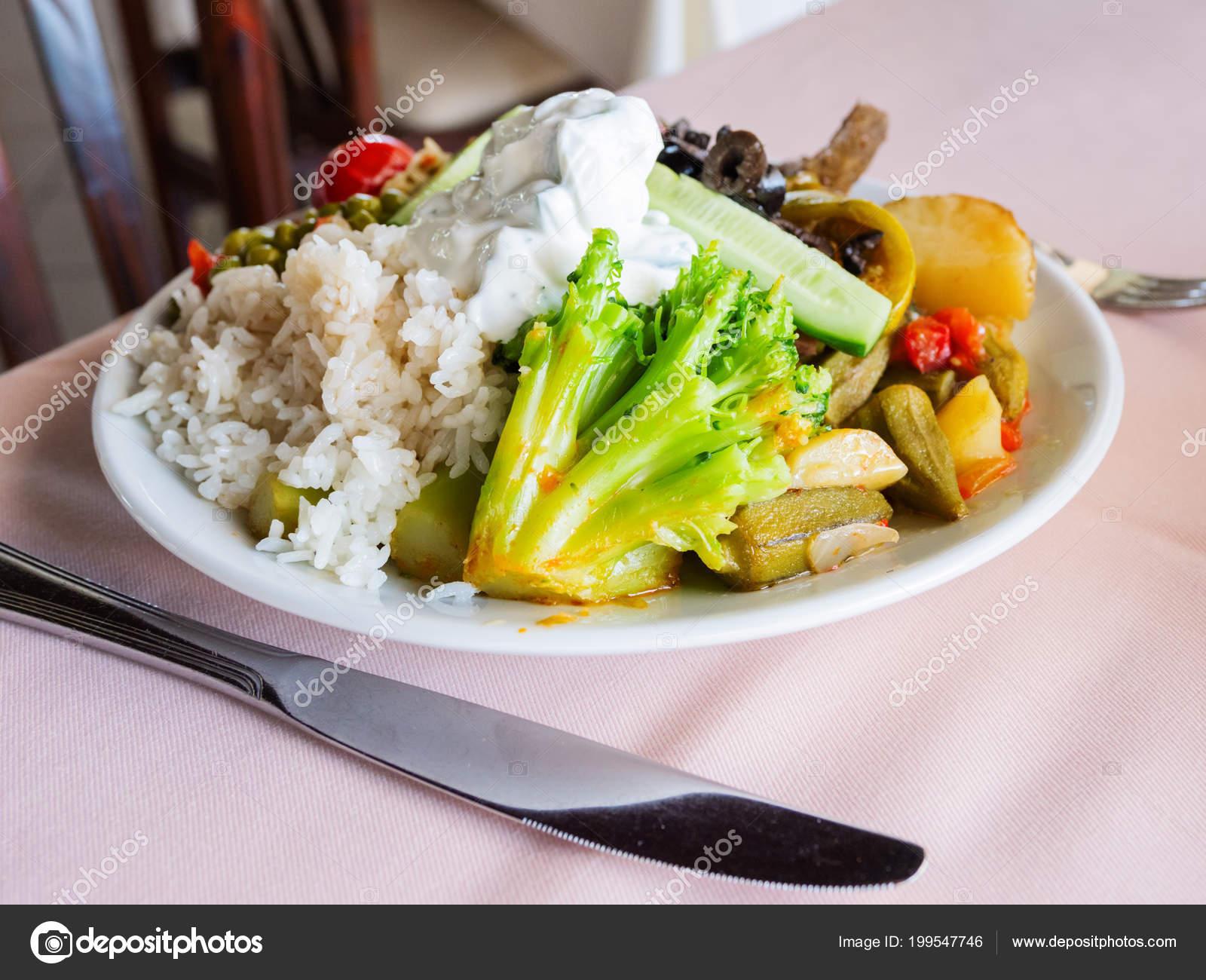 Healthy Dinner Plate Full Stewed Vegetables Rice Natural Yogurt